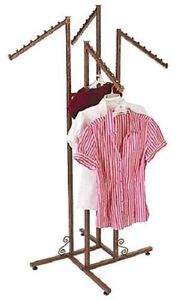 Clothing Rack 4 Way Four Adjustable Clothes Slant Arms Display Copper Finish