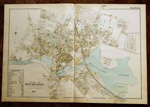 Antique Hand Colored Map 1898 Village Of Winchendon Ma Massachusetts Detailed