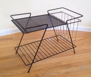 Mid Century Aftr Paul Mccobb Atomic Danish Modern Metal Wire Magazine Rack Table