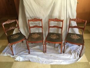 Antiques Chairs Elmira Furniture Mahogany Antique Chairs With Needlepoint Seats