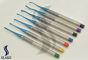 Dental Pdl Luxating Root Elevators Set Of 7 Precise Periotomes Tips Titanium Lab