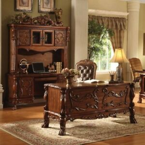 Dresden Traditional Luxury 3 pc Executive Desk Set In Rich Cherry Oak Finish