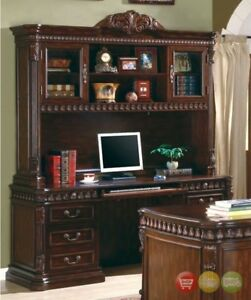 Union Hill Executive Credenza Hutch 2 Pc Set Carved Wood Home Office Coaster