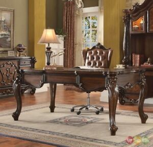 Versailles Traditional Executive 2pc Home Office Set In Cherry Oak Finish