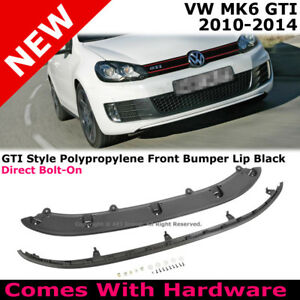 2010 2014 Vw Mk6 Gti Front Bumper Lower Aero Chin Lip Spoiler Body Kit Black