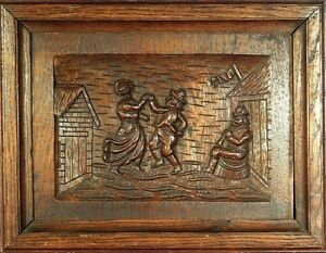 Amazing Ca 1880 French Quimper Hand Carved Oak Wooden Bretons Panel Plaque