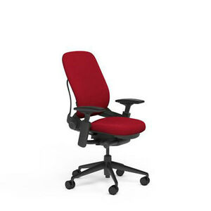 Steelcase Adjustable Leap Desk Chair Buzz2 Rouge Red Fabric Seat Black Frame