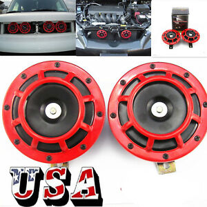 Pair 12v Super Loud Compact Electric Blast Super Tone Hella Horn For Car Truck