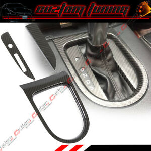 Carbon Fiber Shifter Gear Box Console Trim Cover For 2015 2019 Mustang auto Only
