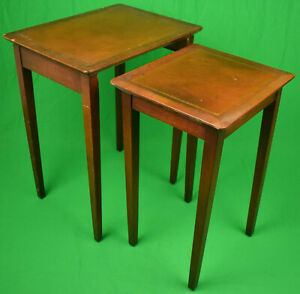 English Stacking Side Tables W Leather Tops