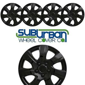 Brand New Set Of 4 16 Gloss Black Hubcaps 445 16blk Metal Clips Perfect Fit