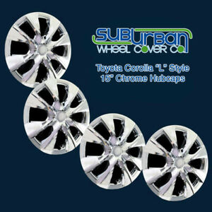 2014 2018 Toyota Corolla L Style 56117 c 15 Chrome Hubcaps Wheel Covers Set 4