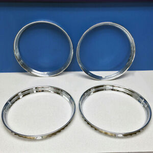 16 Stainless Steel Chrome Hot Rod Ribbed Trim Rings Beauty Rings New Set Of 4