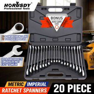 20pc Ratcheting Combination Wrench Set Sae Inch Imperial Metric Mm Tool Wi