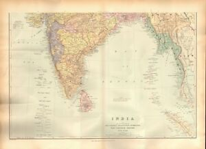 1896 Stanford Antique Folio Map India South Parts Of Chinese Empire Thailand