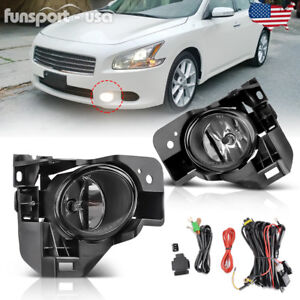 For 2009 2014 Nissan Maxima Clear Fog Light Front Bumper Lamp wiring switch Pair