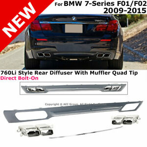 Rear Bumper Diffuser 09 15 Bmw 7 Series F01 F02 760 Style With Chrome Trim Tip