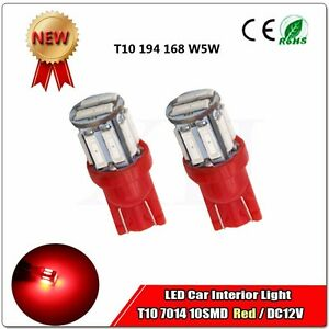 1x T10 194 168 2825 W5w 10 Smd Led Red Super Bright Car Wedge Lights Bulb Dc12v