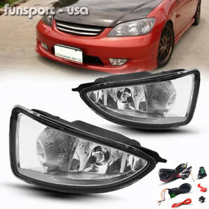 For 2004 2005 Honda Civic 2 4dr Jdm Clear Bumper Fog Light Lamp Harness W Switch