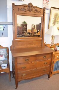 Vintage Antique Oak Dresser W Mirror Professionally Refinished From Estate