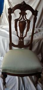 Gorgeous Antique Victorian Parlor Chair Moire Upholstery Exquisite Carving