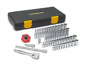 Gearwrench 80300p 51pc 1 4 Drive 6pt Sae Metric Socket Set W 120 Tooth Ratchet