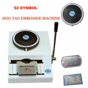 52 Symbol Manual Dog Tag Emosser Id Metal Plate Card Stamping Embossing Machine