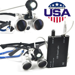 Dental Surgical Binocular Loupes 2 5x 420mm Led Head Light Lamp Magnifying Glass