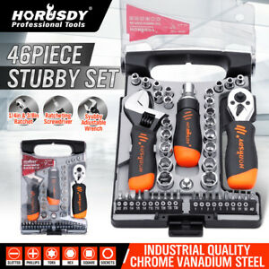 46pc Stubby Ratchet Driver Socket Adjustable Wrench Tool Set 1 4 3 8 Bits Case