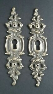 2 Vintage Antique Style Ornate French Eschutcheons Key Hole Covers 4 3 4 E11