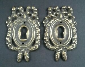 2 Vintage Antique Style Ornate French Eschutcheons Key Hole Covers 2 1 2 E13
