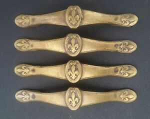4 Ant Vtg Style French Fleur De Lis Solid Brass Handles Pulls 5 5 8 W P3