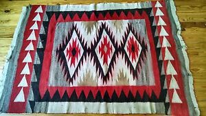 Early Rare C1920 S Navajo Rug Teec Nos Pos Tapestry Wallhanging Blanket 70x48
