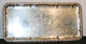 Vintage Ezada 800 Silver Serving Tray Israel Patterned Rim Not Footed