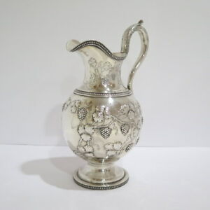 12 25 In Coin Silver Jones Ball Co Antique 1845 Grape Pattern Water Pitcher
