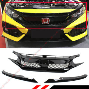 For 16 18 Honda Civic 10th Gen Fk8 Type r Style Gloss Blk Mesh Front Hood Grille