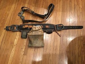 Vintage Pole Climbing Belt Buckingham Bell System Date 11 78 Sz Small And Strap