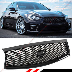 For 2014 2017 Infiniti Q50 Q50s Gloss Black Out Front Hood Grille Replacement
