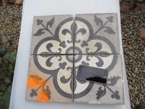 Large Antique Floor Tiles Ceramic French Victorian Floral Fleur De Lis X4 8 W
