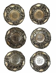Persian Antique Silver Set Of 6 Saucers Qajar Era Handmade Hand Engraved Etched