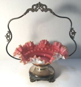 Antique Victorian Silver Plate Brides Basket With Pink Amber Crest Ruffle Bowl