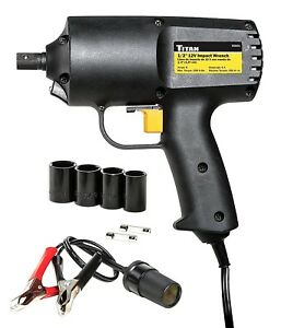 Titan 55601 7 Piece 12v Electric Impact Wrench Set 1 2 Dr Free S H 1711