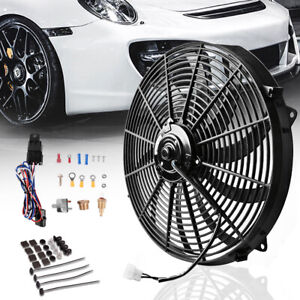 16 Inch 12v Electric Cooling Fan Push Pull W Mount Kit Relay Thermostat Kit