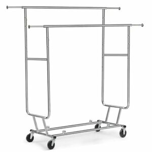 Tangkula Commercial Grade Collapsible Clothing Rolling Double Garment Rack