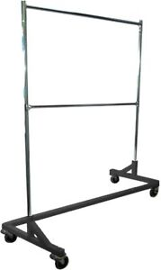 Deluxe Commercial Grade Rolling Z Rack Garment Rack With Nesting Base 400lb