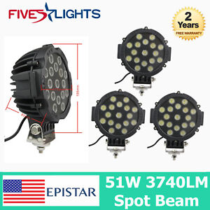 4pcs 51w Led Work Light Spot Beam Black Round Off Road Fog Driving 4wd Boat Fs