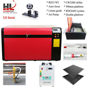 Reci 100w Co2 Laser Cutter Engraving Machine 5000 Chiller Double Platform Rotary