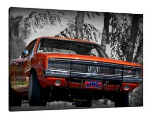 General Lee 30x20 Inch Dukes of Hazzard 1969 Dodge Charger Picture Canvas GBP 38.95