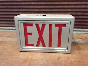 Nice Looking Vintage Exit Light Up Sign Red Glass man Cave