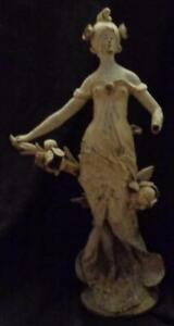 Antique Spelter Figural Statue Gorgeous Art Nouveau Ca 1900 Great Piece